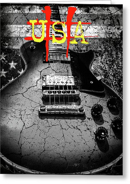 Usa Flag Guitar Relic Greeting Card