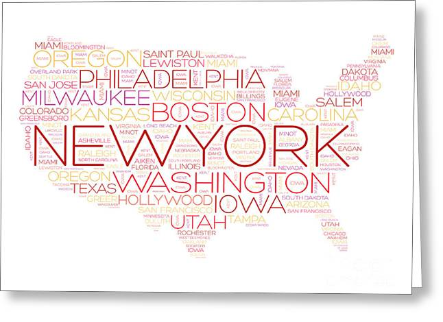 Usa Map Word Cloud With Most Important Greeting Card