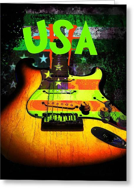 Usa Strat Guitar Music Green Theme Greeting Card