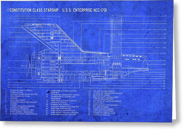 Uss Enterprise Starship Blueprints Plans Greeting Card