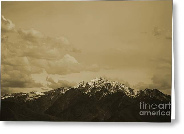 Utah Mountain In Sepia Greeting Card