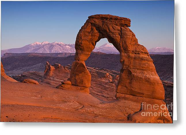 Utahs Delicate Arch At Dusk Greeting Card