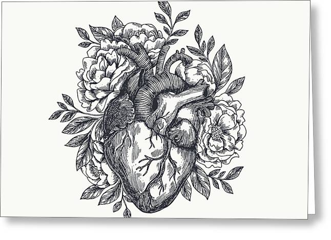 Valentines Day Card. Anatomical Heart Greeting Card