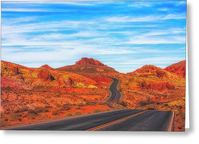 Valley Road Greeting Card by Fernando Margolles