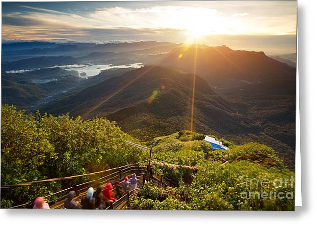 Valley View With Villages And Mountains Greeting Card
