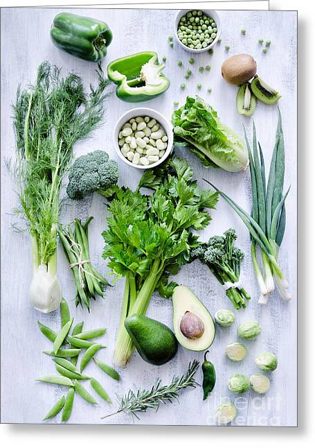 Variety Of Green Vegetables Produce On Greeting Card