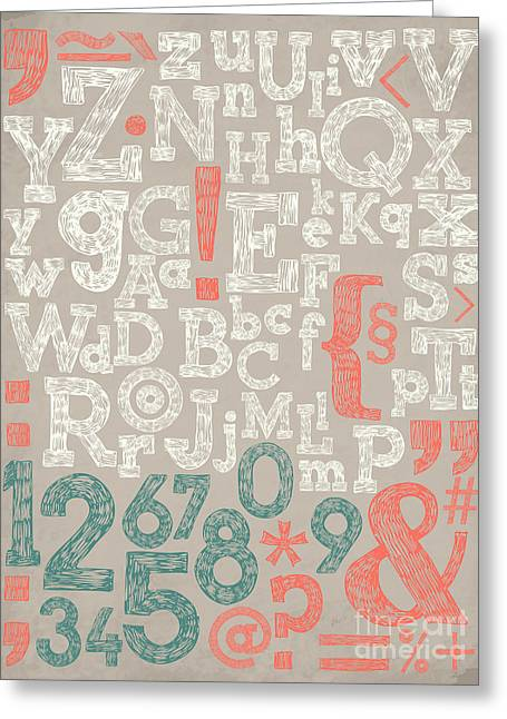 Vector Alphabet And General Typography Greeting Card