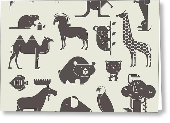 Vector Animals Set Greeting Card