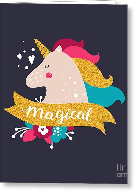 Vector Baby Unicorn With Glitter. Kids Greeting Card