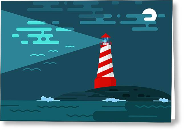 Vector Background With Lighthouse, Sea Greeting Card