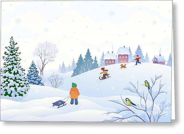 Vector Cartoon Illustration Of A Winter Greeting Card