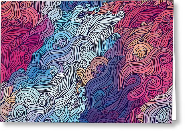Vector Color Abstract Hand-drawn Hair Greeting Card