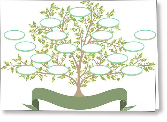 Vector Family Tree With Blank Spaces To Greeting Card