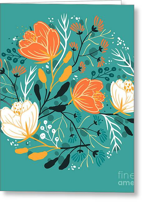 Vector Floral Illustration Of Blooming Greeting Card