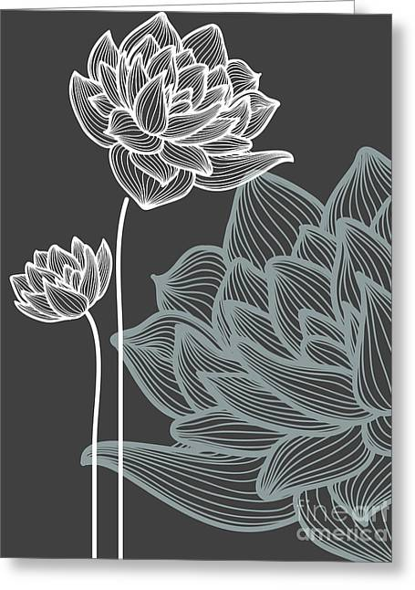 Vector Flowers Over Black Background Greeting Card