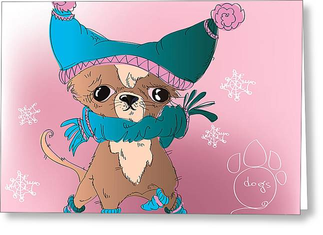Vector Funny Dressed Pocket Dog - On Greeting Card