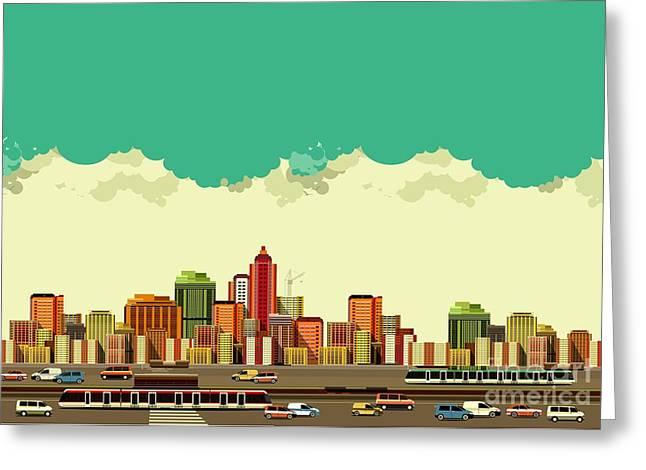 Vector Illustration Big City Panoramic Greeting Card