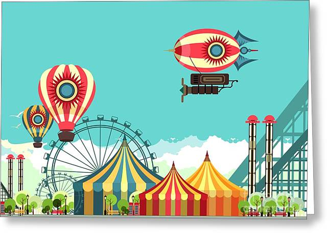 Vector Illustration Carnival Circus Greeting Card by Marrishuanna