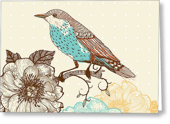 Vector Illustration Of A Bird And Greeting Card