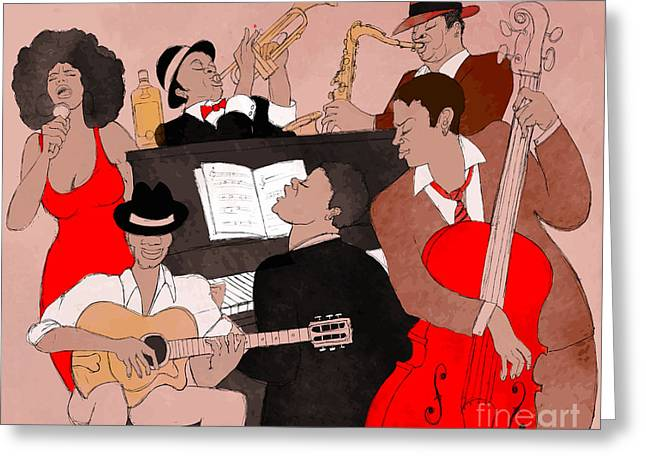 Vector Illustration Of A Jazz Band Greeting Card