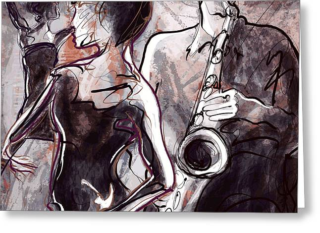 Vector Illustration Of A Jazz Band With Greeting Card