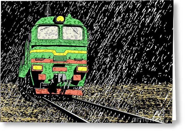 Vector Illustration Of A Russian Train Greeting Card