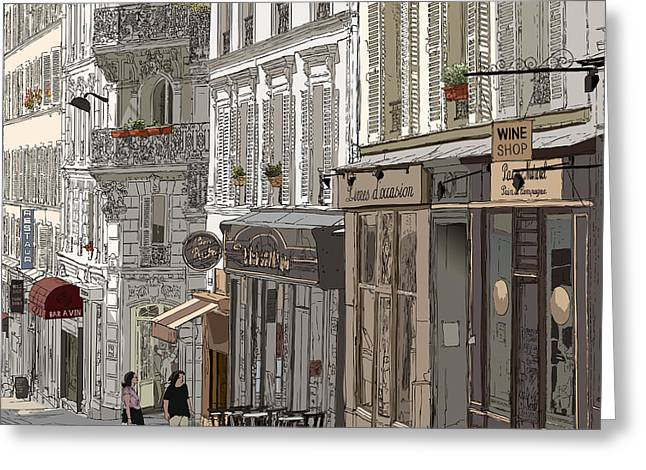 Vector Illustration Of A Street In Greeting Card
