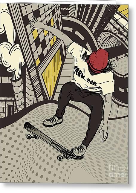 Vector Illustration Of An Urban Boy Greeting Card
