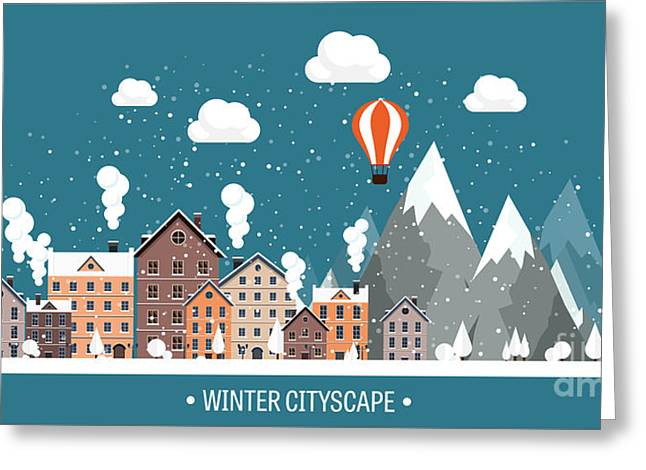 Vector Illustration. Winter Urban Greeting Card by 32 Pixels