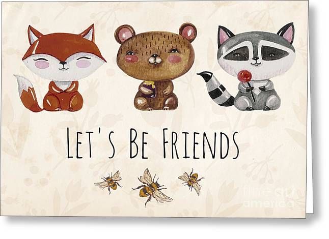 Vector Lovely Cute  Illustration With Greeting Card
