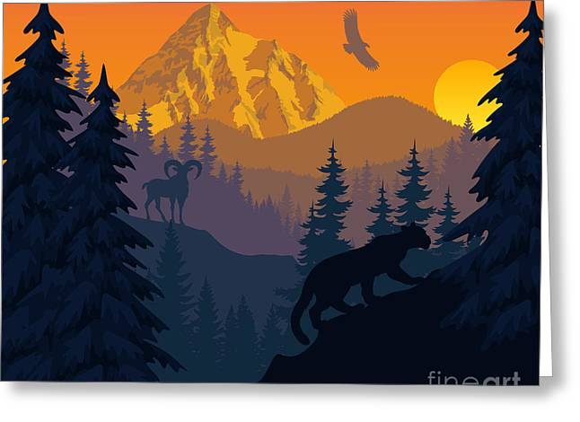 Vector Mountains Evening Landscape With Greeting Card