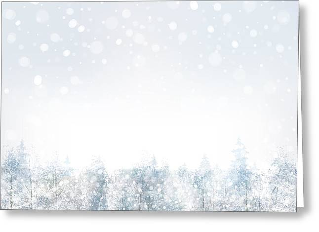 Vector Of Winter Scene With Forest Greeting Card