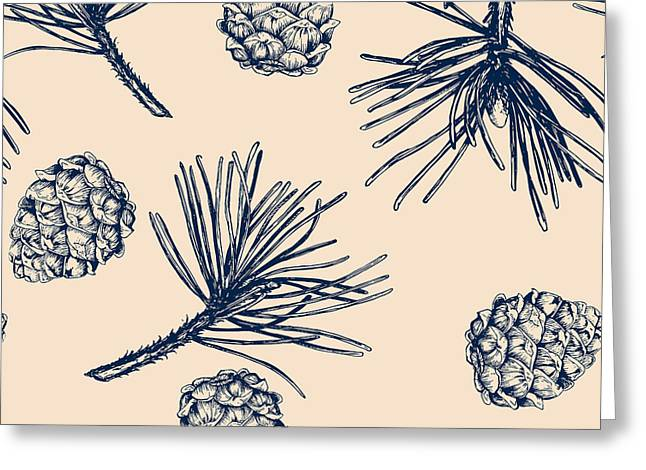 Vector Pinecone Pattern Seamless, Hand Greeting Card