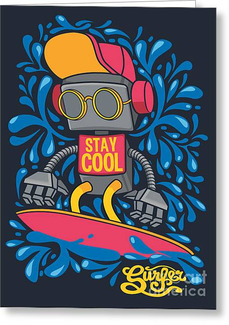 Vector Retro Robot On Surfboard, Surfer Greeting Card