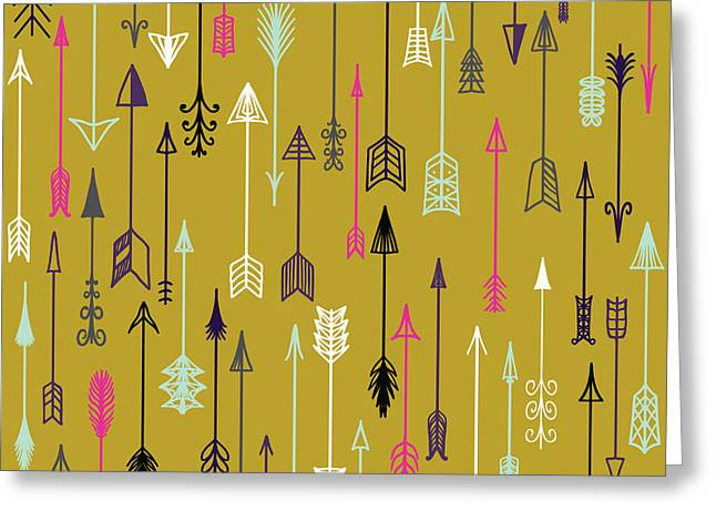 Vector Seamless Colorful Ethnic Pattern Greeting Card