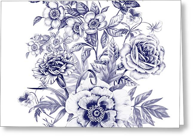 Vector Seamless Pattern. Rose, Peony Greeting Card