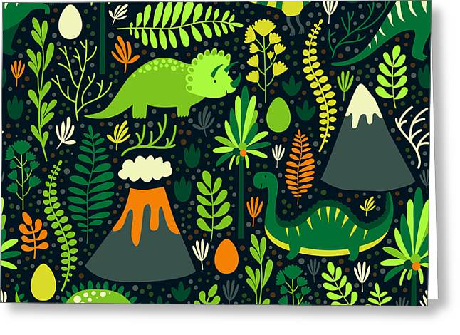 Vector Seamless Pattern With Different Greeting Card