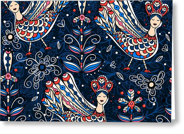 Vector  Seamless Pattern With Folk Greeting Card