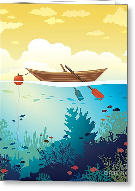 Vector Seascape - Wooden Boat On A Greeting Card