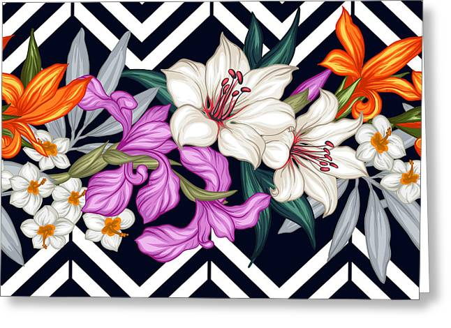 Vector Tropical Leaves And Flowers Greeting Card