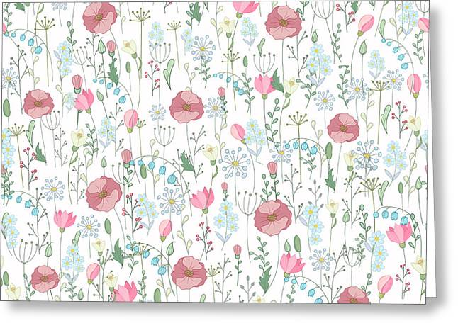 Vector Vintage Seamless Floral Pattern Greeting Card