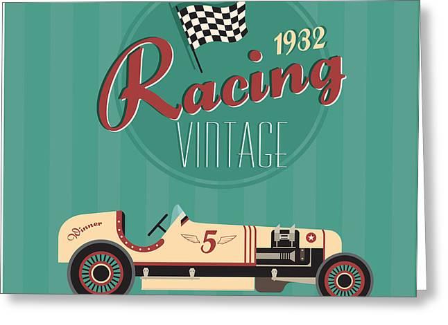 Vector Vintage Sport Racing Car Greeting Card