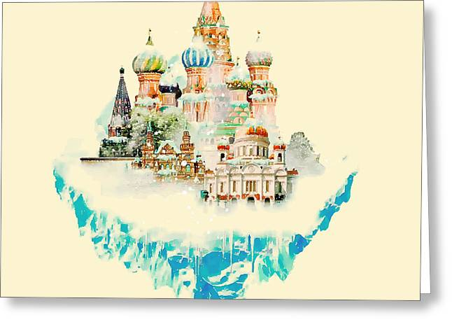 Vector Watercolor Moscow City Greeting Card
