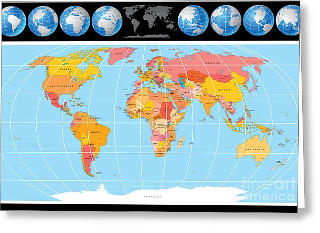 Vector World Map With Globes Greeting Card