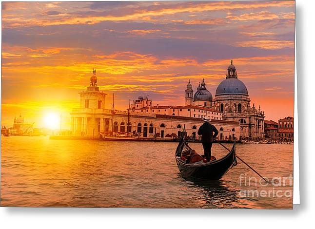 Venetian Gondolier Punting Gondola Greeting Card