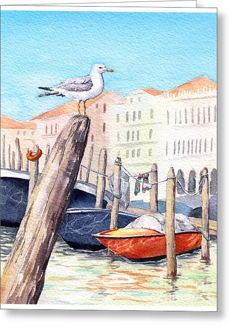 Venice - Boats, Water, Buildings And Greeting Card