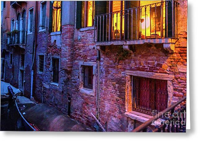 Venice Windows At Night Greeting Card