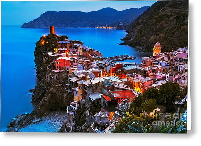 Vernazza Village, Aerial View On Greeting Card