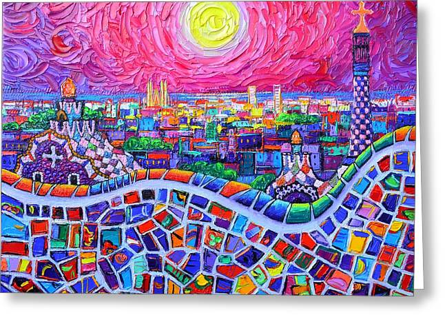 Vibrant Barcelona Night View From Park Guell Modern Impressionism Knife Painting Ana Maria Edulescu Greeting Card