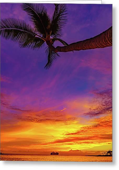 Vibrant Kona Inn Sunset Greeting Card